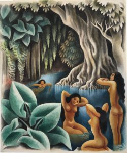 Miguel Covarrubias watercolor bathing in the river